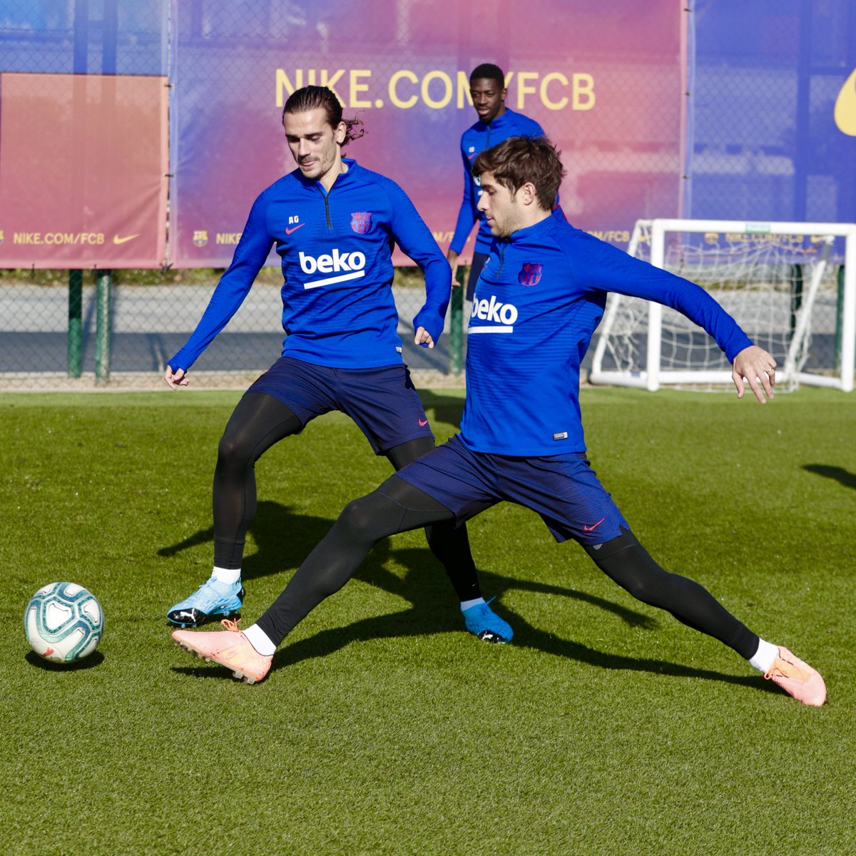 at Tuesday's workout, with  @AntoGriezmann,  @SergiRoberto10, and  @Dembouz.