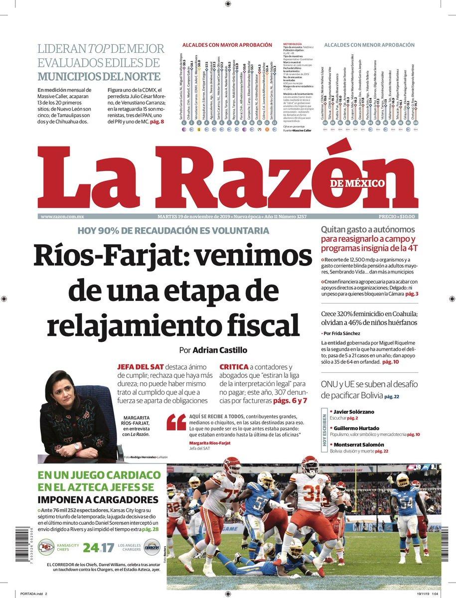 #FelizMartes | Comienza el día con información de #LaRazón:http://bit.ly/331qfuu🔴 Ríos-Farjat: venimos de una etapa de relajamiento fiscal🔴 Quitan gasto a autónomos para reasignarlo a campo y programas insignia de la 4T