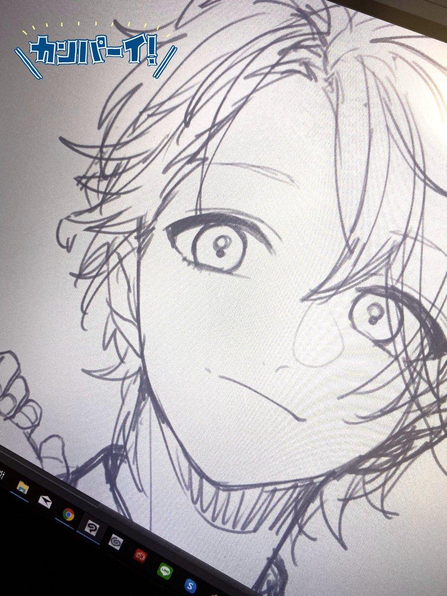 中性顔、描いててアガる…🙏楽しい…