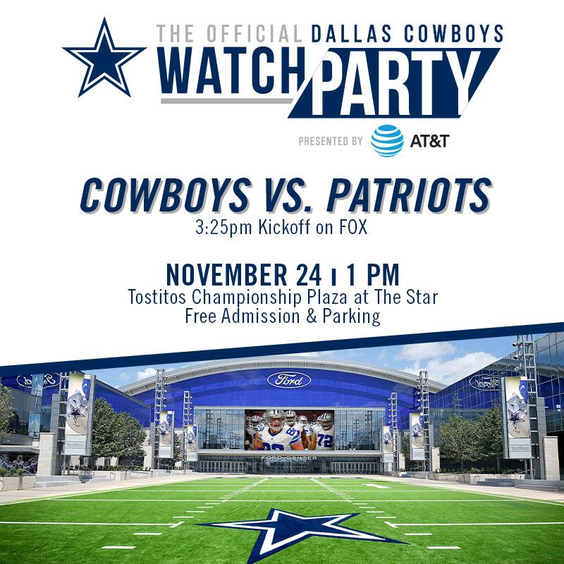 #CowboysNation 🗣 Join us at our Official #DallasCowboys Watch Party presented by @ATT at @thestarinfrisco on Sun, Nov 24❕ Admission & parking are free. For more info → bit.ly/32XjFFf