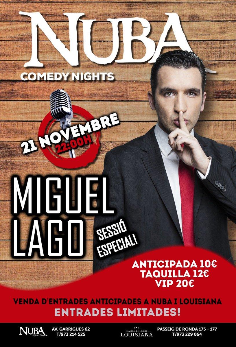 Este jueves 21 a las 22h, la Sala @Nuba_Lleida abre sus puertas al humorista @SOYMIGUELLAGO. El humor canalla de Lago hace parada en Lleida y ¡no puedes faltar!#monólogo #comedia #Lleida