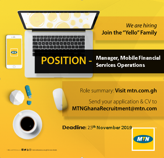 We are interviewing for a new role @MTNGhana. Check role requirements at https://t.co/9hWGdK2KFK and apply now! #greatplacetoworkghana #employerofchoiceghana #WeDey4U @AskMTNGhana @MTNBusinessGH https://t.co/UKWlQc9to7