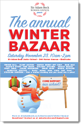 Looking for a fun community-building activity this Saturday? Come join us at Sir Adam Becks annual Winter Bazaar! Saturday November 23 from 10am-2pm. Lots to do for kids and adults! Prizes and draws, and food! @NunziataPatrick @tdsb @AlderwoodTO @Mark_Grimes