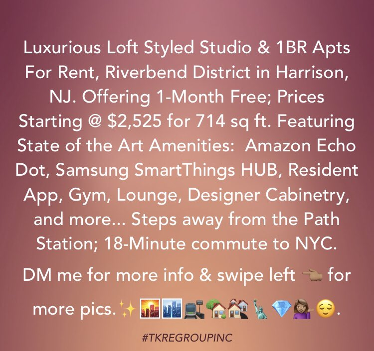 Leave your comments or DM for more information on this new residences.👇🏼#newconstruction #luxurylofts #fancy #taliahyouragent #harrisonnj #dreamhome #decor #design #downtown #harrisonrealestate #njbrokers #broker #homedesign #njrealestate #pathstation #newarkairport #tkregroupinc https://t.co/pUaLCSe2Kn