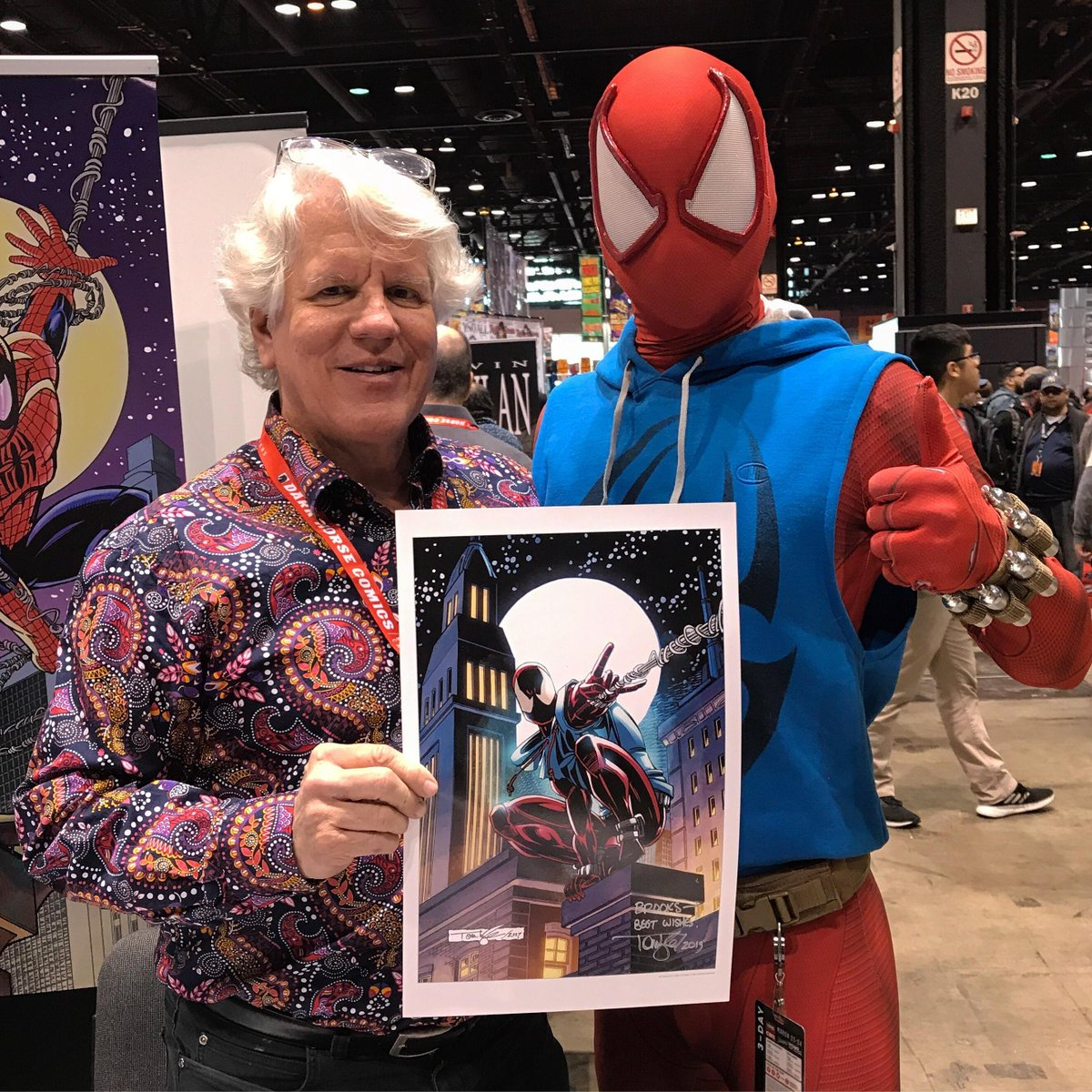 Saddened to hear of the passing of Tom Lyle the designer of the original Scarlet Spider costume and a fine man. He was kind to our show and an amazing artist. <br>http://pic.twitter.com/Mdu3OGUgGs