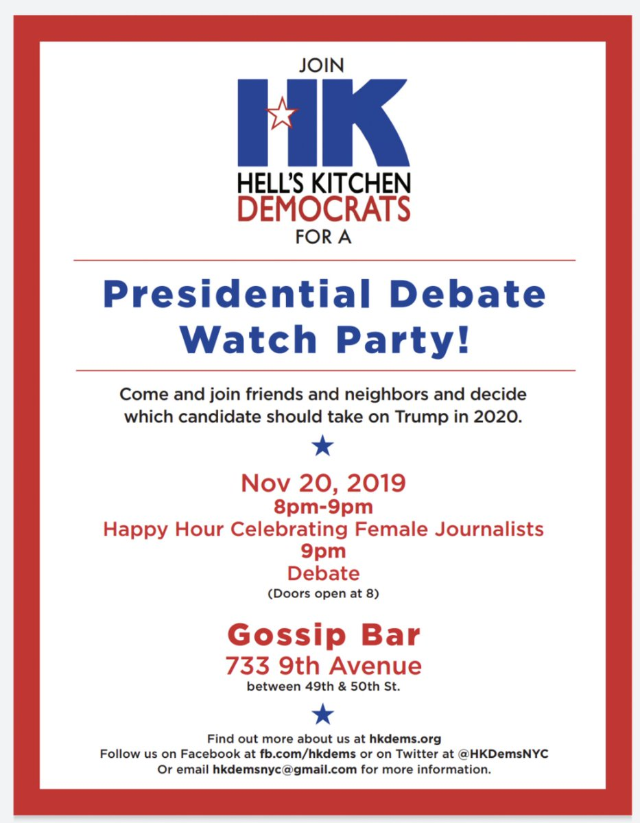 Come join friends and neighbors on Weds night for our November Debate Watch Party!