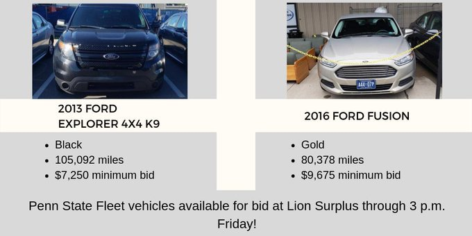 Check out the Penn State Fleet vehicles up for bid at @LionSurplus! For more info on each vehicle, visit http://ow.ly/rEx650umuFV             Penn State Fleet vehicles available for bid at Lion Surplus through 3 p.m. Friday! #statecollege #chevysforsale #fordsforsale pic.twitter.com/Bl72Hv4T6N