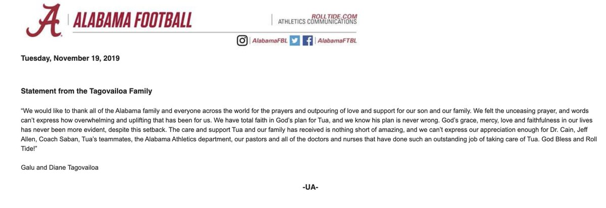 Tua Tagovailoa's Family Has Released A Statement