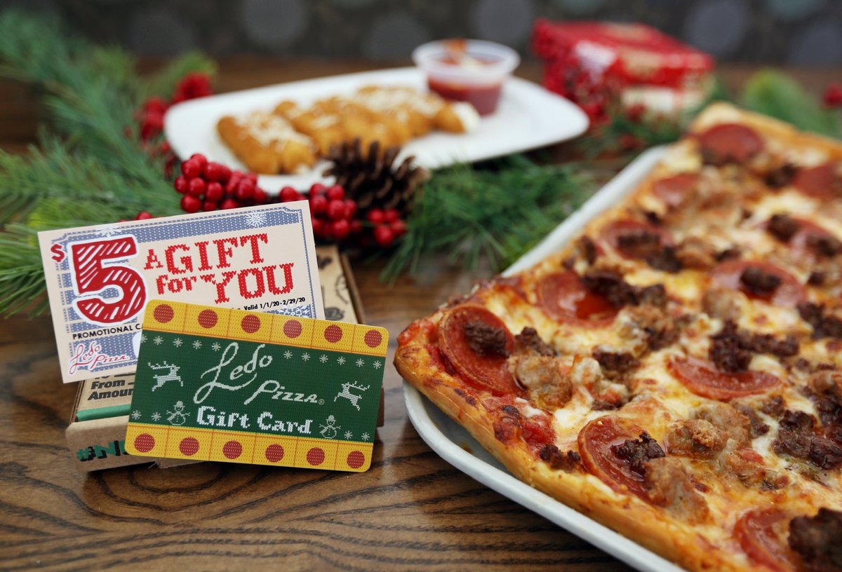 The most wonderful time of year is BACK!   Give and You Receive!   FREE $5 Promo Card with every  $25 #LedoPizza Gift card purchase. *Available in-store only. While supplies last. <br>http://pic.twitter.com/xS0JDBbNVA