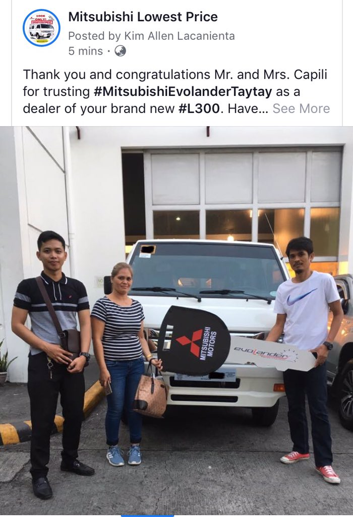 Thank you clients! 😊  #L300 #MitsubishiTaytay #EvolanderMotorCorp #MMPC #MitsubishiMotorsPhilippines  0956-6896734