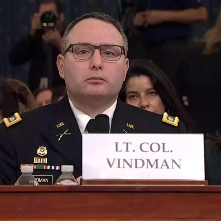 "Rep. Devin Nunes refers to Lt. Col. Alexander Vindman as ""Mr. Vindman.""""Ranking member, it's lieutenant colonel Vindman, please,"" Vindman responds. https://abcn.ws/2pw32mq  #ImpeachmentHearings"