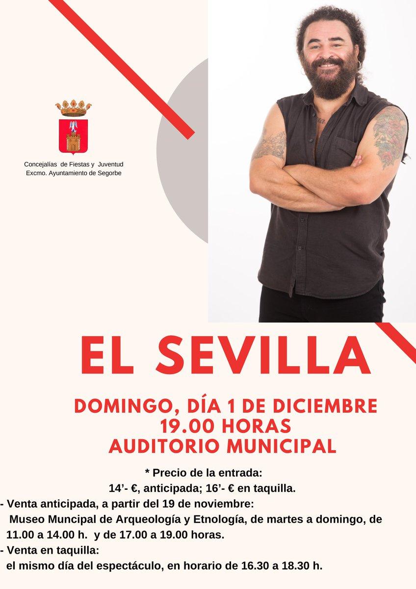 """📰 SEGORBE   Ya están a la venta las entradas para la actuación de """"El Sevilla""""👉http://bit.ly/2OqBgAfMás actualidad en 🌐http://www.tribunasegorbina.es#Cultura #Monólogo #Segorbe"""