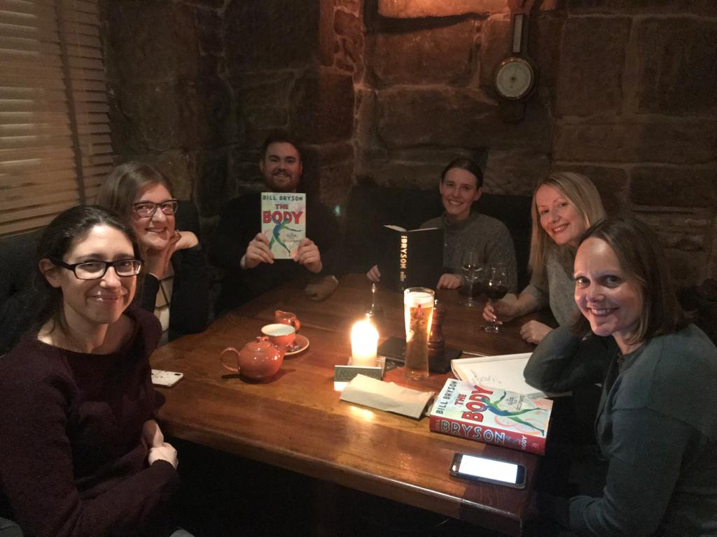 First session of the slightly smaller #bigscottishbookclub was a roaring success discussing Bill Bryson's The Body. Roll on next month 📚 @IWC_Media @Damian_Barr