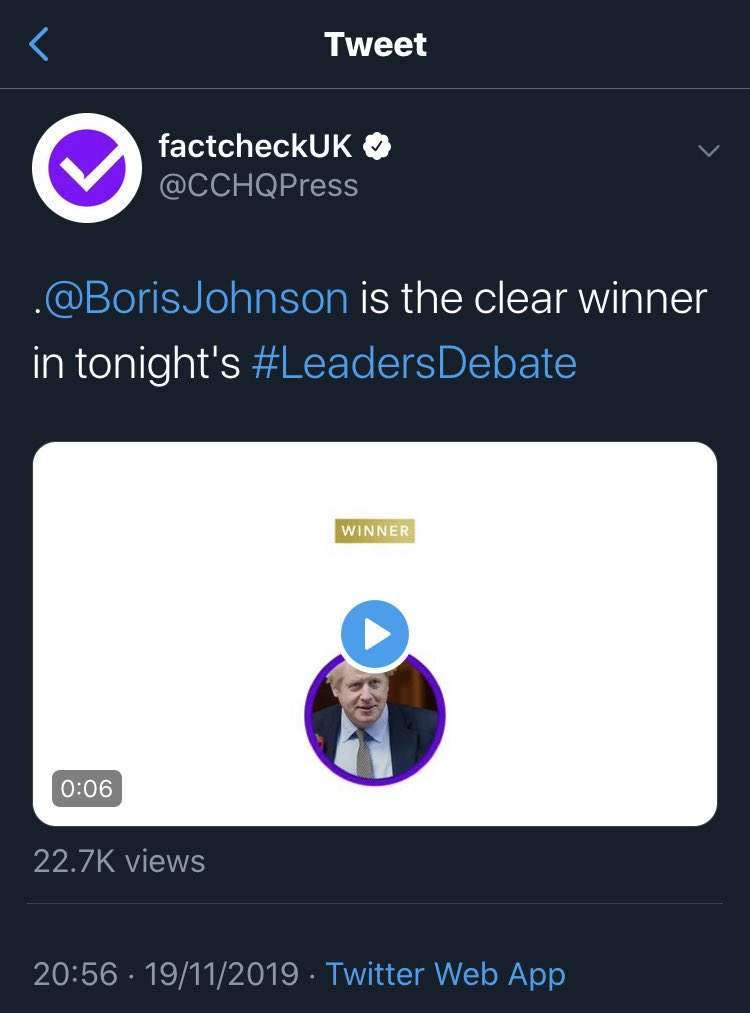 This is Tory HQ, pretending to be a fact checking organisation, and giving the debate to Boris Johnson.  Dirtiest trick of the election so far, by a long way!  #LeadersDebate #ITVDebate<br>http://pic.twitter.com/lOzQYSFDEU