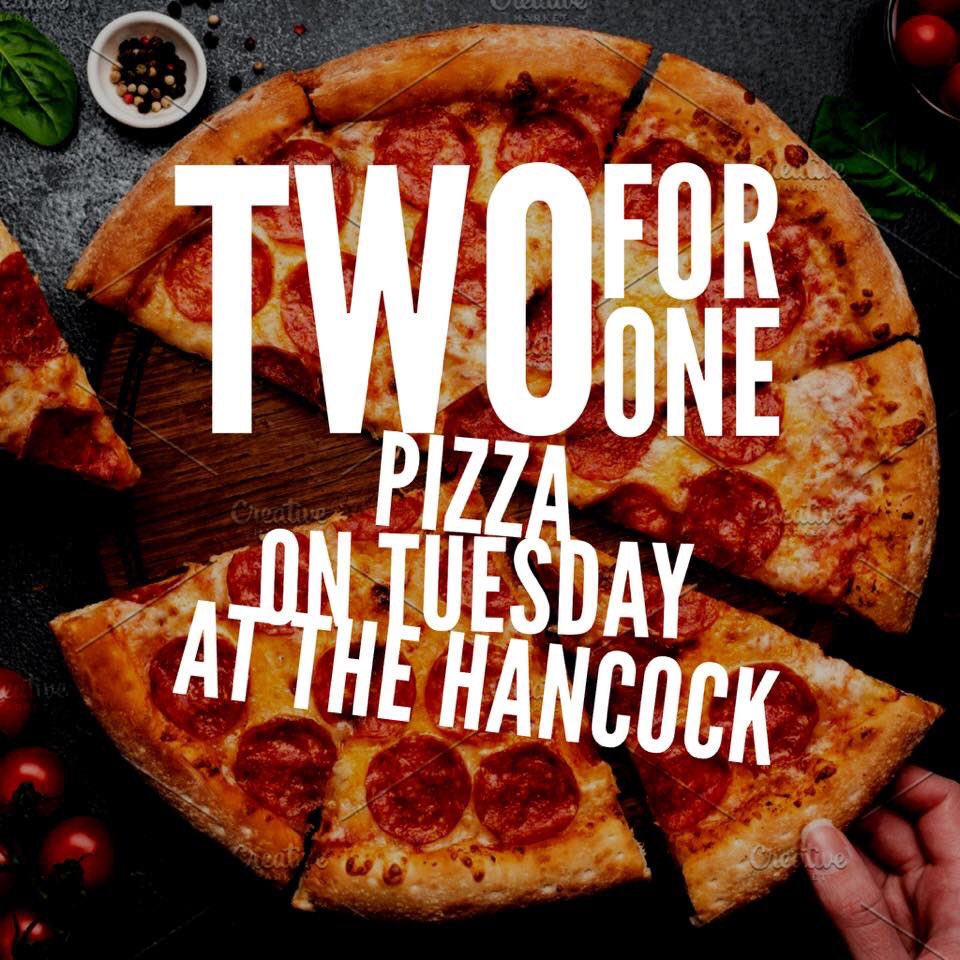 ⭐️🍕NEWS IN!!! 2 for 1 on ALL pizzas TODAY at The Hancock!!!🍕⭐️  Tag your mates you would love to share a pizza with tonight in the comments below!! 👇  #241pizzaa #pizzatuesdays #hancock #pizza #freshers2019