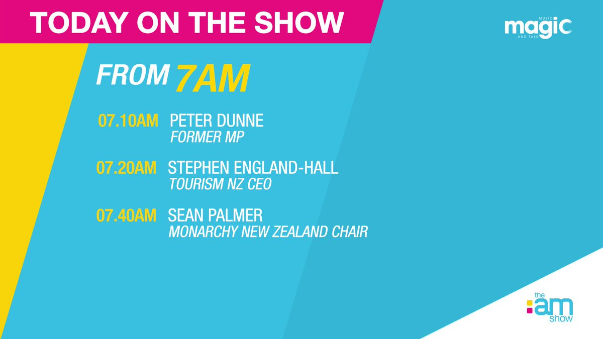 It's Wednesday 20th November - coming up this hour: Former MP @honpeterdunne | @TourismNZ CEO Stephen England-Hall | @monarchynz Chair Sean Palmer https://t.co/Hw5PSOtOau