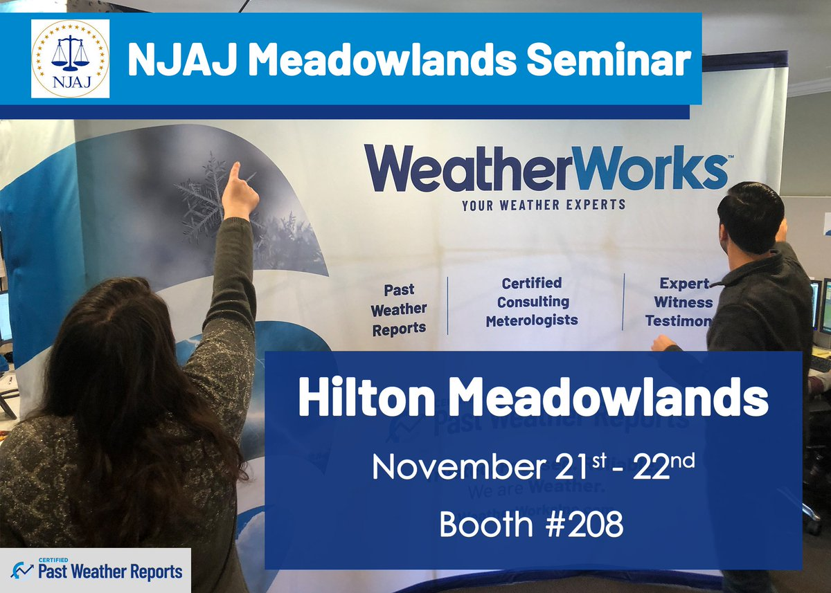 Weatherworks On Twitter The Njassocjustice Meadowlands Seminar Is Coming Up In Just A Few Days Visit Us At Booth 208 This Thursday And Friday To Find Out How Our Forensic Meteorologists Can