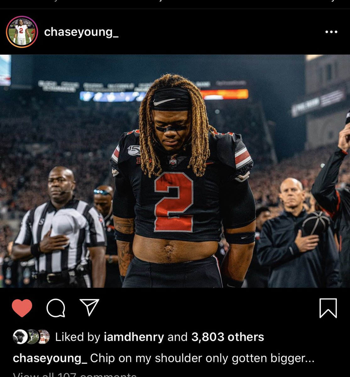 I wonder if Chase Young is excited for the Penn State game.