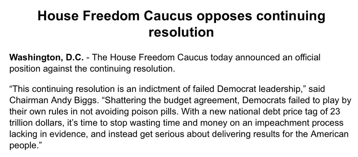 NEWS: @freedomcaucus takes official position against the CR.