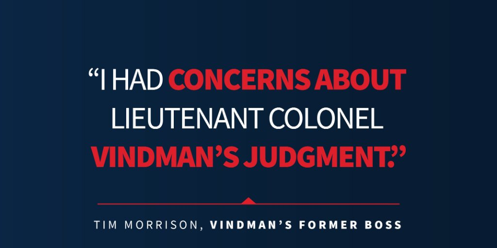 Tim Morrison, Alexander Vindman's former boss, testified in his deposition that he had concerns about Vindman's judgment.