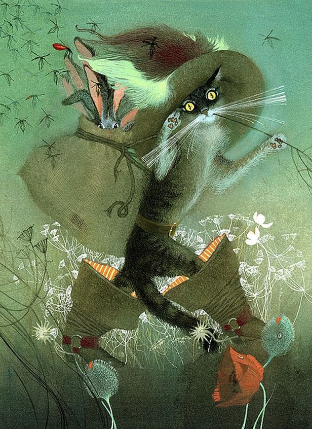 Puss in Boots, a tale by Charles Perrault, here illustrated by Nadezhda Illarionova #FairyTaleTuesday