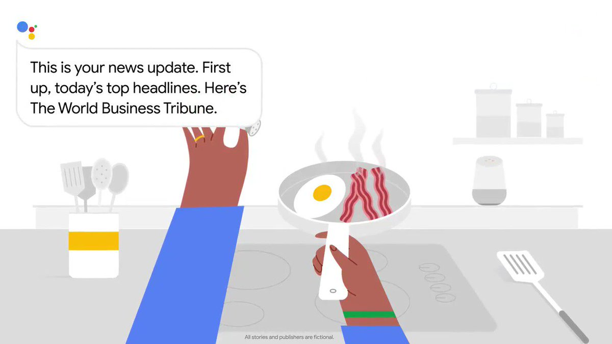 """Hey Google, play me the news."" 🎙  Introducing Your News Update, a new way to listen to the news from the Google Assistant, with a mix of top news stories and news tailored for you. Available in the U.S. in English for now → http://goo.gle/2rS2CHN"