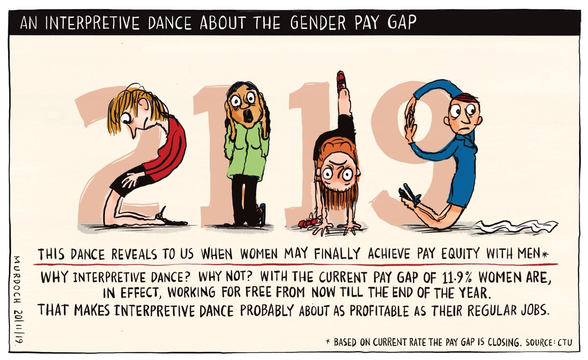 Okaaaay Laaaadieees! You're now working for free for the rest of the year! And here's the other bad news, told in interpretive dance. My @NZStuff @dompost #cartoon #nzpol #GenderPayGap #PayEquity