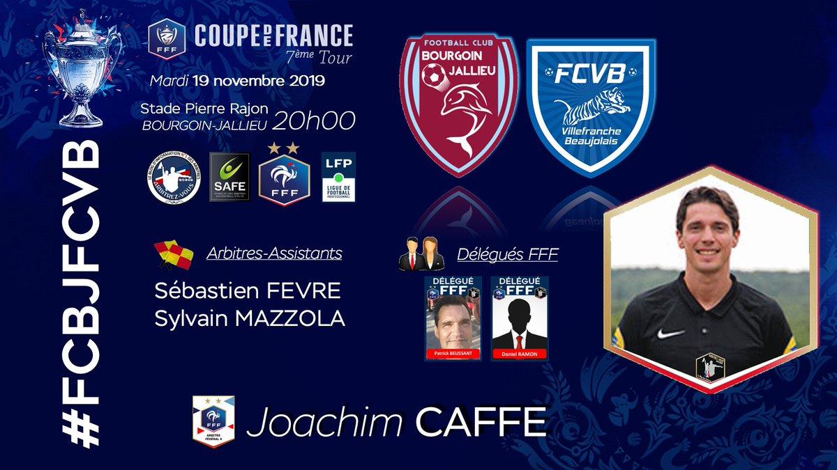 #FFF #CoupedeFrance - 7ème Tour🏆   @FCBourgoin38  🆚@FCVB_officiel #⃣   #USSMVFC📆   19 novembre 2019🕘   20H00🏟️   Stade Pierre Rajon - BOURGOIN-JALLIEU👨   Arbitres / Referees@ArbitresSAFE @FFF @deux_zero @coupedefrance @LFPfr