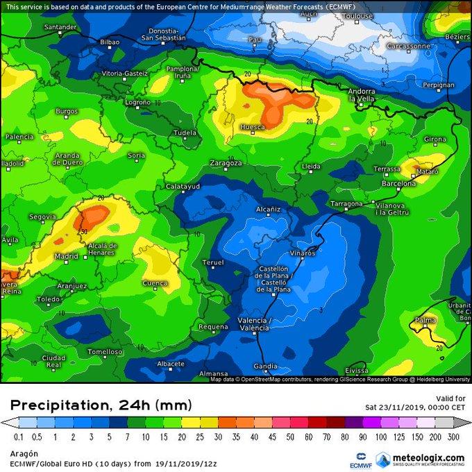 Interesante la salida del modelo ECMWF para el Viernes-Sabado en el Pirineo. S-Sw  con buenos acumulados  en la vertiente sur el viernes y W-Nw el Sabado en vertiente norte y divisoria sobre todo del Occidental.  ❄ 1600-1800m el V en VS, más alta en VN, y por ⬇️ de 1500m el S.
