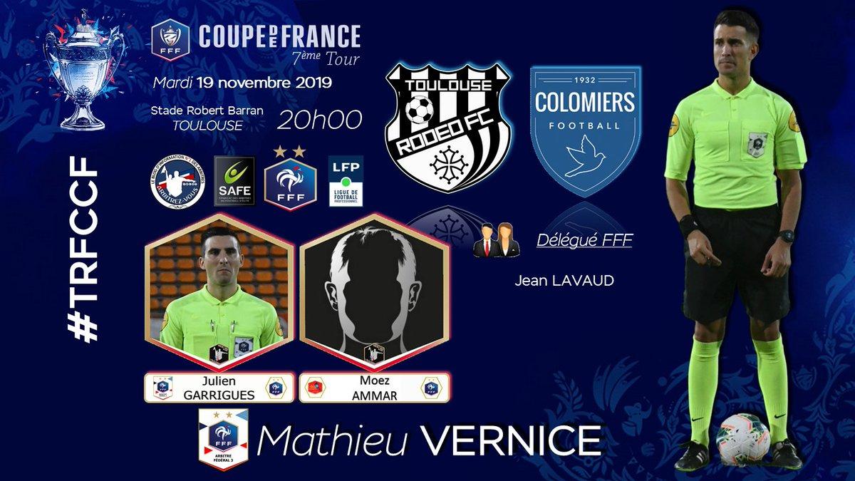 #FFF #CoupedeFrance - 7ème Tour🏆   TOULOUSE RODEO FC 🆚@USColomiers #⃣   #TRFCCF📆   19 novembre 2019🕘   20H00🏟️   Stade Robert Barran - TOULOUSE👨   Arbitres / Referees@ArbitresSAFE @FFF @deux_zero @coupedefrance @LFPfr @LigueFootLFO