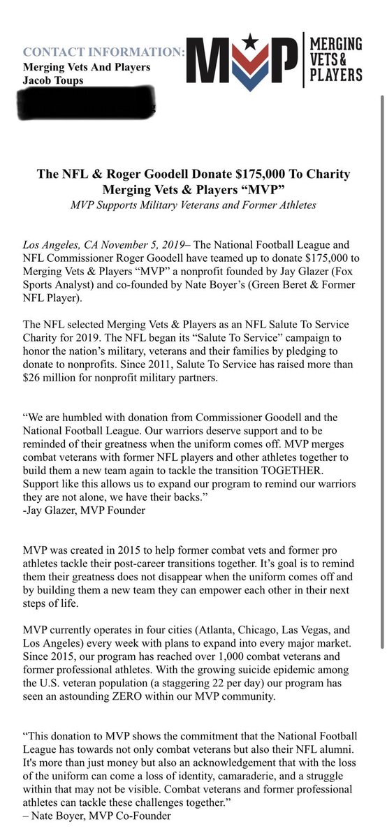 #retweet @JayGlazer . Attention all combat veterans in New York tri-state area... we are coming your way. Our program has helped so many others save, build and empower. So proud!! @VetsandPlayers @nfl #mergingvetsandplayers #mvp