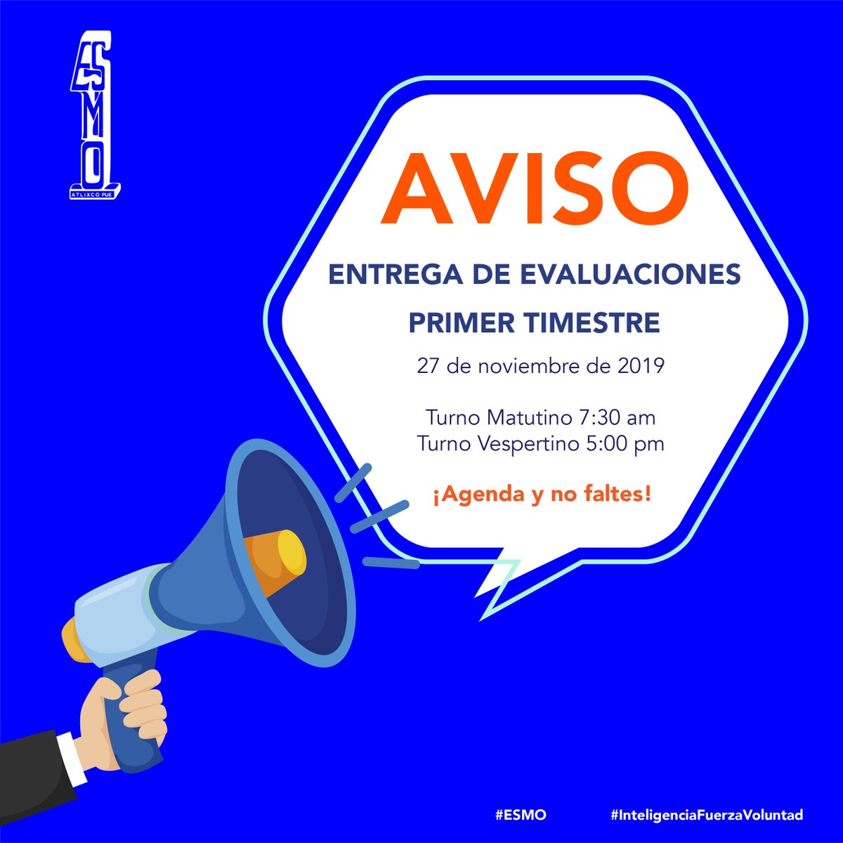 🚨 Padre de familia 👨🏻👩🏻 No olvides que este 27 de noviembre realizaremos entrega de evaluaciones del primer trimestre, agenda este día, el futuro de tus hijos es trabajo de todos.   #ESMO #InteligenciaFuerzaVoluntad #Atlixco #Puebla #EducaciónBásica #AccionesPorLaEducación