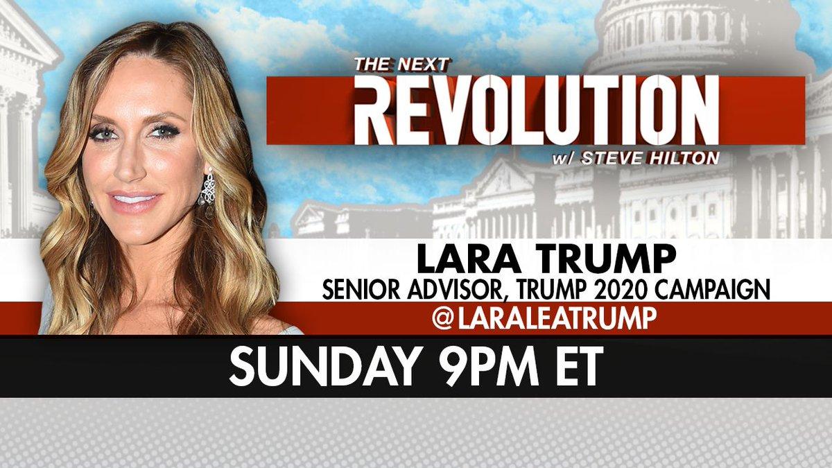 SUNDAY! See @LaraLeaTrump on #NextRevFNC! Tune in at 9pm ET on @FoxNews!