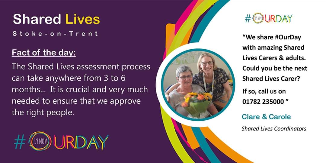 💙Do you have a spare room? 💙Can you care for somebody? 💙Get paid for making a difference Get in touch 01782 235000 sharedlives@stoke.gov.uk stoke.gov.uk/sharedlives #OurDay @SoTCityCouncil @SharedLivesPlus #sharedlivesstoke