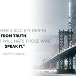 Image for the Tweet beginning: George Orwell's words continue to