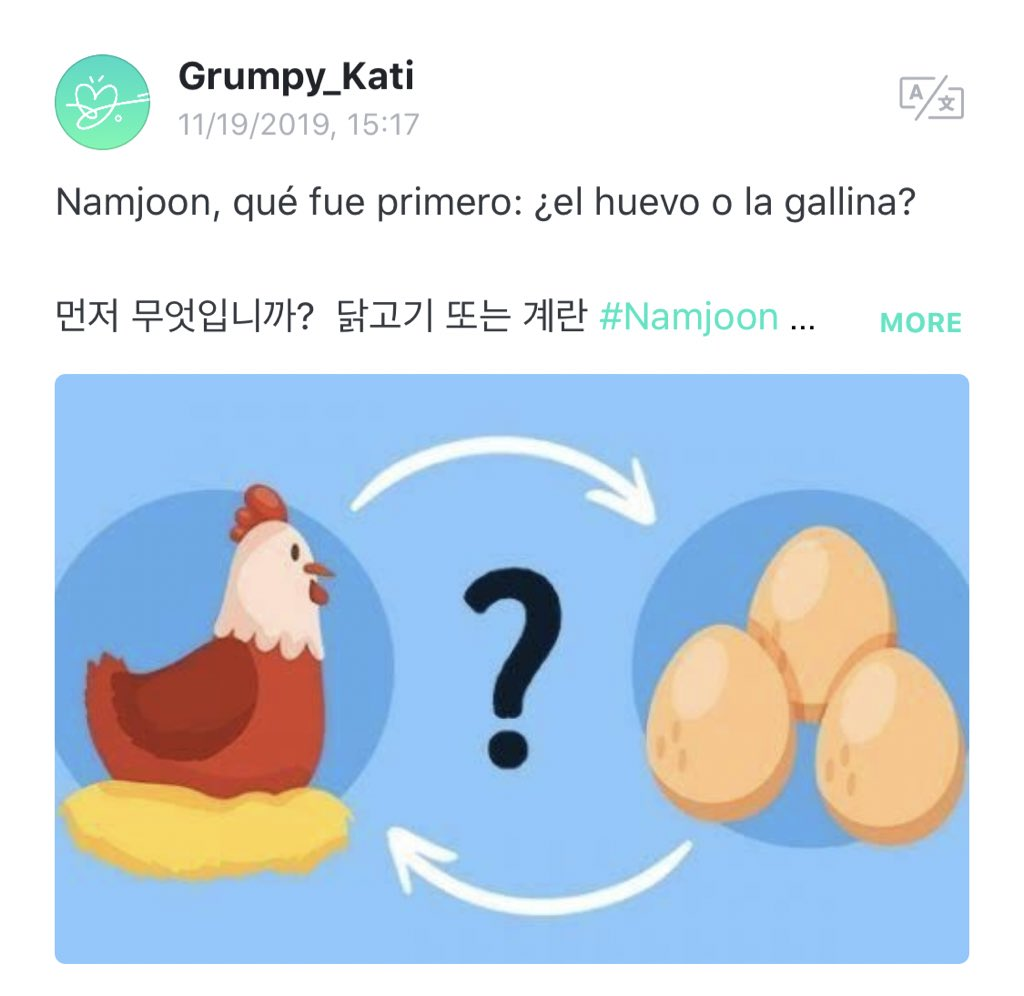 I downloaded weverse just to ask #namjoon @BTS_twt my existential questions #bts #army #crazy #rm #chicken #egg What was first? Chicken or egg ?