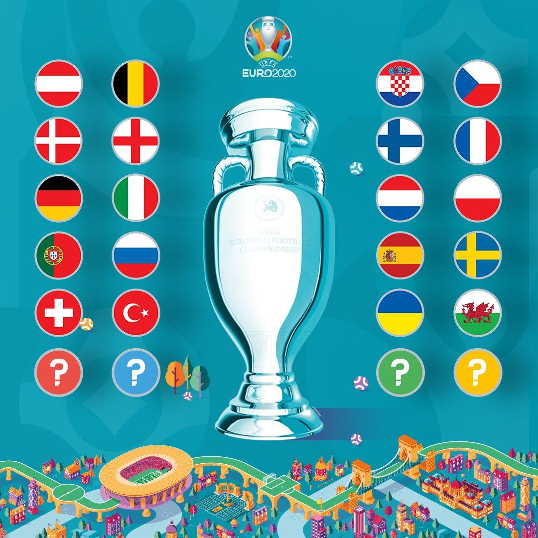 TEAMS CONFIRMED FOR  #EURO2020!   𝘑𝘶𝘴𝘵 4 𝘱𝘭𝘢𝘤𝘦𝘴 𝘳𝘦𝘮𝘢𝘪𝘯...