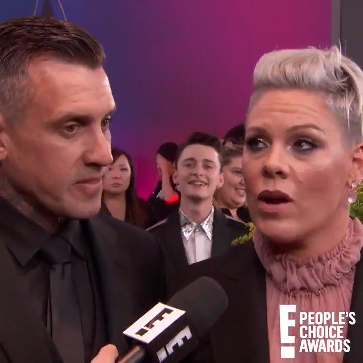 Can we all agree that @noah_schnapp photobombing @Pinks interview is absolutely perfect? #PCAs
