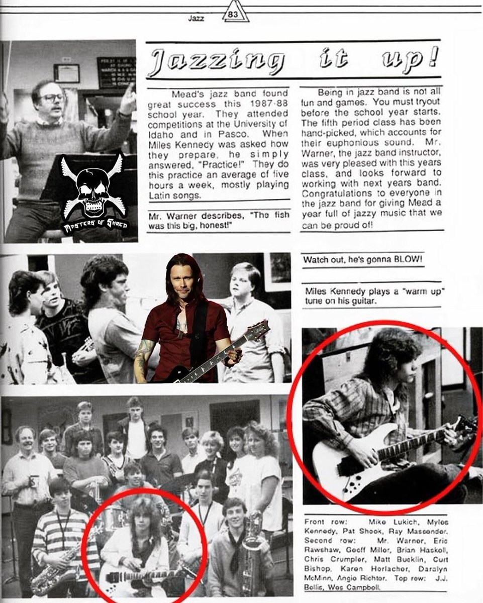 """""""The Voice of Shred the Mighty @MylesKennedy bringing the Shred to the 87-88' Mead's High School Jazz Band as he gets some due credit for his wicked jazz chops in this yearbook write up!""""~ @MastersOfShred  Watch the episode HERE:https://youtu.be/wp_jJbgiCvMpic.twitter.com/y5tZVRMR3u"""