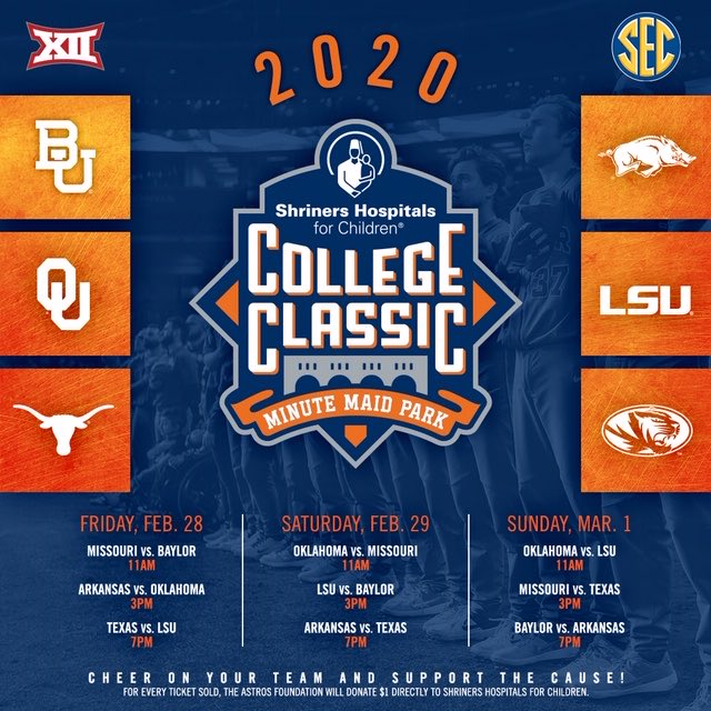 Big XII x SEC Tickets are now on sale for the 2020 @shrinershosp College Classic! 🎟: http://Astros.com/CollegeClassic