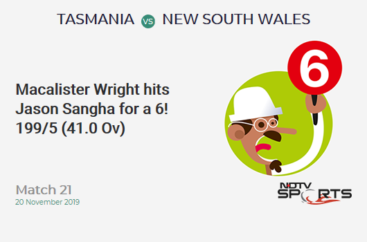 Match 21: Macalister Wright hits Jason Sangha for a 6!  199/5 (41.0 Ov) #TASvNSW https://t.co/L0L7fp1LF7 https://t.co/e8xtxDqA3b