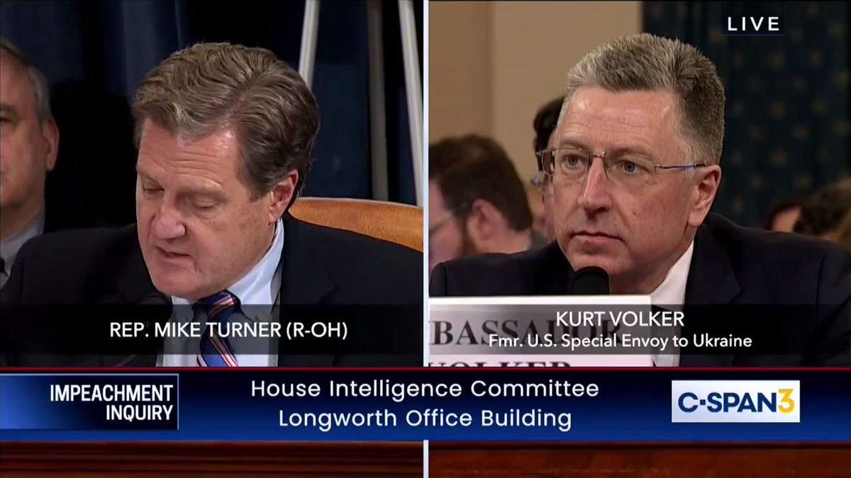 WATCH —> Amb. Volker just took apart Democrats' ENTIRE case.    @RepMikeTurner: Did he ever say to you that he was not going to allow aid with the US to go to Ukraine unless there were investigations into Burisma, the Bidens or the 2016 election?  VOLKER: No he did not.