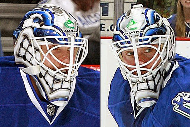Brendan Batchelor On Twitter New Mask For Jacob Markstrom In Warmup We Ve Seen It In Practice The Last Few Days But I Didn T Think It Was A Game Mask Half Blue Half