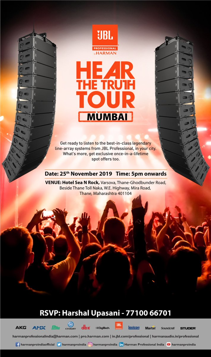 Gear up, #Mumbai! An exclusive chance to experience @TheJBLpro's legendary line array system is coming to your city on 25th November. Join us the #HearTheTruth Tour & win a golden-opportunity to grab mind-blowing spot offers. #JBLPro #ExperienceHarman #ExpectBrilliance https://t.co/len3XxMw5y