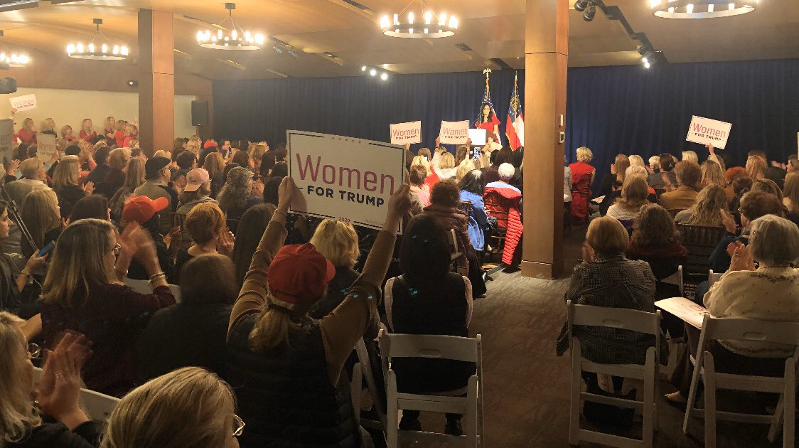 What a fantastic turn out for our #WomenForTrump Empower Hour! @kimguilfoyle and @KatrinaPierson did a phenomenal job firing up these women. Georgia is ready to #LeadRight   #GeorgiaGrit #4MoreYears #GaPol