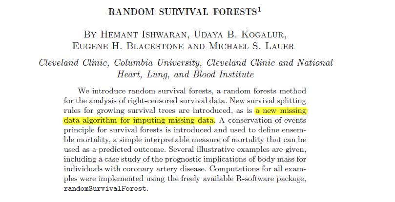 こちら()の Qiita 記事でご紹介いただいた Random Survival Forests を少し勉強してみようと思います.どうやら欠損値処理も実装されているみたいで論文はコチラCox 比例がどうしても比例にならないのだもの… 他のモデルを試すしかない…