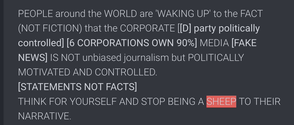 @AFP Shocking that a news agency is reporting fake news. Wait... didn't our @POTUS tell us they are the real #EnemyOfThePeople ?  Yes, yes I think he did.  Maybe #Americans are waking up to the reality of the propaganda being shoved down our throats and are #SheepNoMore.