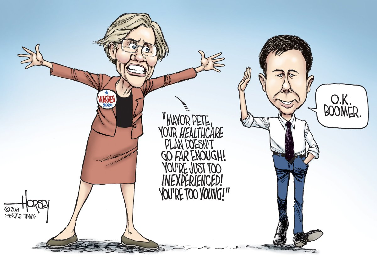 #OkBoomer is a phrase that may come in handy for the new frontrunner in Iowa, Pete Buttigieg...