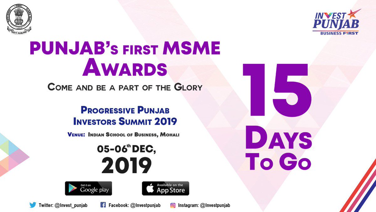 .@PunjabGovtIndia has identified #MSMEs as an important pillar in #Punjab's growth story; these Awards are the State's way of honouring the MSMEs for their contribution to the economy and growth. Join us in this momentous occasion at #PPIS2019. #InvestintheBest #InvestPunjab