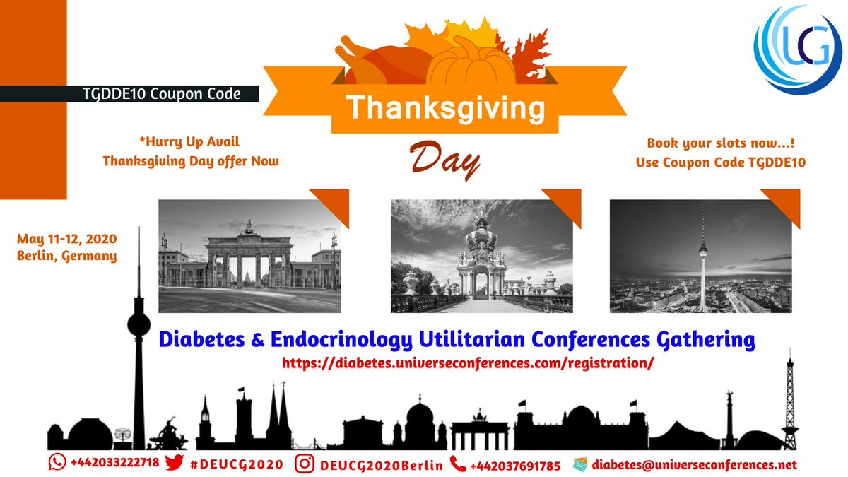 test Twitter Media - Have you heard about Thanksgiving Day offer? #DEUCG2020Berlin Use discount code TGDDE10 & Register here https://t.co/yhRcwud85p  #Diabetes #Endocrinology #Healthcare #Diabetologists #Endocrinologist #Endocrine #DiabetesCare #Type2diabetes #Prediabetes #Gestationaldiabetes #travel https://t.co/T3PjfGIArv